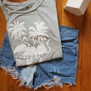 Ruff Hewn Distressed Flamingo Graphic T-Shirt